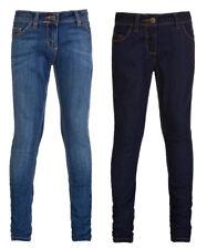 Girls Denim Skinny Jeans Plain Cotton Slim Adjustable Waist Stretch Kids BNWT