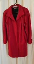 Ashley Scott Womens Red Wool Long Coat Jacket Lined Vintage Made in USA Medium