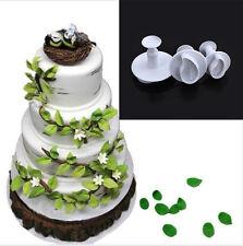 3Pcs Leaf Fondant Cake Plunger Mold Cutter Sugarcraft Paste Plastic Mold Tools