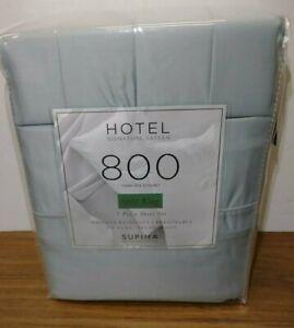 Hotel Signature Sateen 7 Pc. Blue Split Cal King Sheet Set 800 Ct 100% Cotton