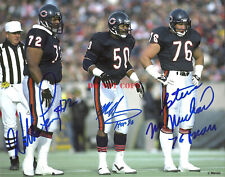 1985 CHICAGO BEARS MIKE SINGLETARY WILLIAM PERRY MCMICHAEL AUTOGRAPHED SIGNED 8X