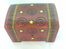 Polish Spiral Design Wood Chest - Lock/ Key - Jewelry