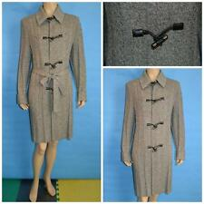 ST JOHN Collection Knit Gray Coat Dress L 10 12 Sheath Leather Toggle Buttons