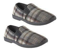 Mens Checked Black Hard Bottom Loafer Warm Slippers sizes 11 & 12