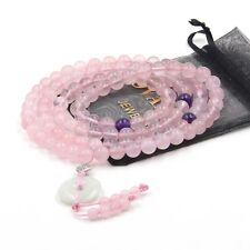 Peace Buckle Natural Rose Quartz Tibet Buddhist 108 Prayer Beads Mala Necklace