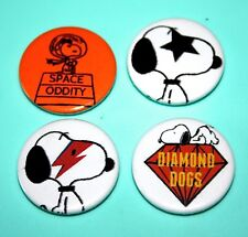 SET OF 4 VINTAGE STYLE SNOOPY PEANUTS DAVID BOWIE BUTTON PIN BADGES