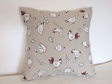 "Novelty Fun Cottage style Hens 100% Cotton 16"" Cushion Cover"