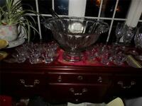 HEISEY EX . LG. PUNCH BOWL SET PEDESTAL W/ CUPS SILVER PLATED LADLE BRIDAL