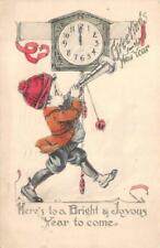 HAPPY NEW YEAR HOLIDAY CLOCK CHILD BUGLE POSTCARD 1914