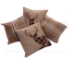 """Set of 4 Tartan Stag & Tartan Check Brown Beige Collection 18"""" Cushion Covers"""