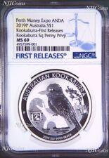 2019 Kookaburra 1oz $1 Silver Coin Square Penny Privy Mark NGC MS69 ANDA FR