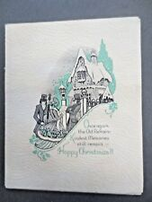 Vintage CHRISTMAS Card 1940s Crinoline Lady Snowy Cottage WW2 Wartime UNUSED