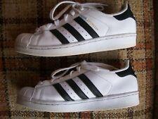 Adidas Mens Size 6 (Japan 245) Superstar White Blk Stripe C77154
