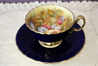 BEAUTIFUL AYNSLEY COBALT BLUE D. JONES FRUIT CENTER TEA CUP AND SAUCER