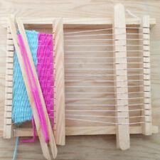 Mini Child Wood Handloom Developmental Toy Yarn Weaving Knitting Shuttle Loom QP