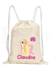 Personalised Girls My Little Pony MLP Fluttershy Drawstring Canvas Gym/ PE Bag