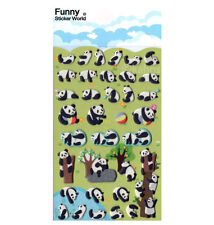 Cute Pandas Puffy STICKERS Sheet of 35 Funny Sticker World Korea Kawaii Panda