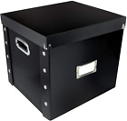Vinyl Record Storage Case Box Organizer with Lid Holds up to 75 Records Black