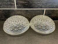 "2 Vtg Clear Glass Starburst Quilted Ceiling Light Shade Globes 5 3/4"" Fitters A"