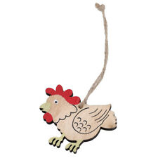 Wooden Chicken Rabbit Easter Hanging Decorations Party Ornament Decoration LH