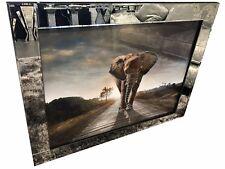 Mirror Frame African Elephant Safari Wildlife Glitter Liquid Art Wall Picture