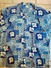 Vtg Jade Fashions Tiki Mod Aloha Hawaiian Shirt Xl Blue . Mint!