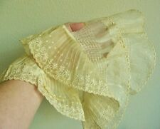 ANTIQUE VINTAGE PLEATED LACE COLLARS OR TRIM, TEA STAINED