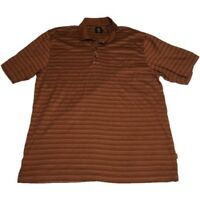 Trump Golf Men's Size Large Brown Striped 100% Cotton Short Sleeve Golf Polo
