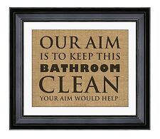 Our Aim is to Keep this Bathroom Clean Your Aim Would Help, Burlap Print, Jute