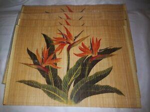 4 Hawaiian Print  Bird Of Paradise Aloha Bamboo Placemats