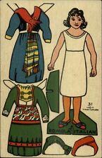 Fletcher Cut Out Paper Doll Little Girl Clothes c1910 Postcard myn ADV on BACK