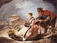 """Oil painting francois boucher - Princess sitting on sled in winter landscape 36"""""""