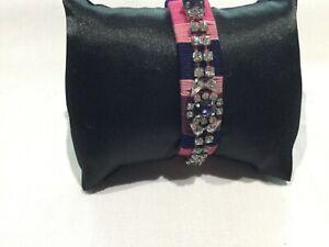 Juicy Couture New & Gen. Adjustable Fabric & Diamanté Bracelet With Crown Logo