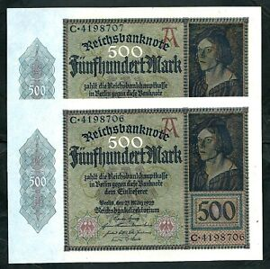 Germany (P73) 500 Mark 1922 x 2 Consecutive UNC