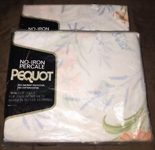 Nip Vtg Pequot White Cotton Blend Multi-Colored Floral Print Twin Sheet Set