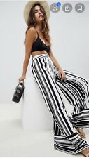 ASOS Akasa Wide Leg Beach Trousers In Stripe Print Size 6 BNWT