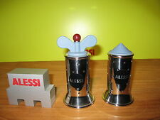 ALESSI *NEW* Set 2 Moulins Sel & Poivre D.6,3cm H.11cm/13cm Michael Graves