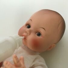 """Eegee Goldberger Baby Doll Drink & Wet in Red Carrier 12"""" Vintage with Bottle"""