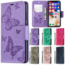 Flip Embossed Butterfly Patterned PU Leather Wallet Lot Card Pocket Case Cover