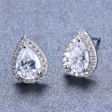 Charm Pear Sapphire Stud Earrings White Rose Gold Plated Jewelry Women Ear Studs
