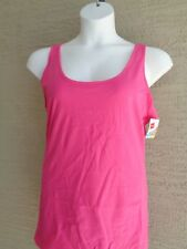 Hanes Cotton 2X Jersey Scoop  Neck Wide Strap Tank Top   Pink Lotus