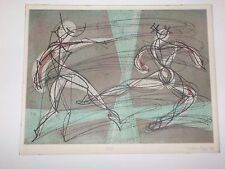 "Carlus Dyer Abstract Ballet ""Jete"" color Etching pencil signed & dated 1949"