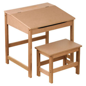 Brown Kids Children Study Activity Desk Table And Stool Chair Seat Furniture Set