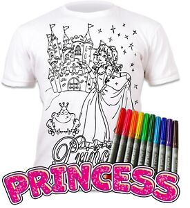 Splat Planet Colour-in Princess T-Shirt 10 Magic Pens-Colour-in and Wash Out