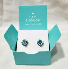Origami Owl Silver Stud Earrings Imperial Cut Swarovski Crystals Aurora Borealis