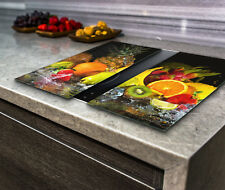 Hob Cover Induction Electric Cooker Chopping Board Glass Set 2 Fruit in Water