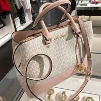 Michael Kors Large Leather MK Satchel Crossbody Handbag Purse Bag Vanilla/Ballet