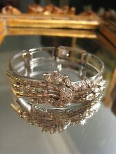 ENGEL BROTHERS beautiful Vintage 1950s Diamante Rhodium Plated Bracelet Cuff