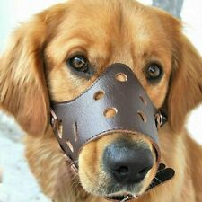Lg Adjustable Anti-biting Dog Soft Leather Muzzles Mouth Cover Pets Mask Brown