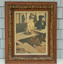 Antique Ornate Oak Wood Gesso Picture Frame & Print - Large